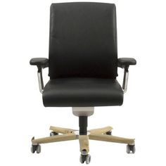 Black Leather On 174/71 Swivel Office Task Chair By Wiege For... ($1,599) ❤ liked on Polyvore featuring home, furniture, chairs, office chairs, black, swivel chairs, black swivel chair, leather desk chair, leather swivel office chair and black chair