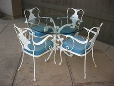 5 pc vintage patio furniture set ornate wrought iron french country cottage