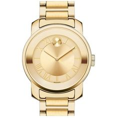 Women's Movado 'Bold' Round Bracelet Watch, 32Mm ($330) ❤ liked on Polyvore featuring jewelry, watches, gold, yellow gold watches, round dial watches, bracelet watch, polka dot watches and gold wristwatch