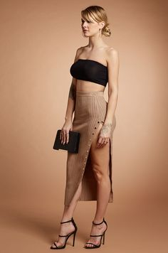 Ribbed Slit Midi Skirt in Black and Mocha