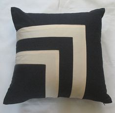 navy and cream throw pillow cover  with square by anitanirma