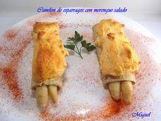 canelon de esparragos con merengue salado