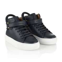 Buscemi Navy Leather High Top Trainers