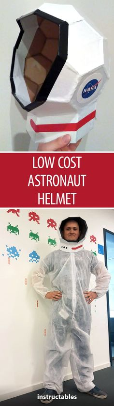 Create a cheap and easy astronaut helmet out of paperboard. Complete your costume with a lightweight coverall paint suit! #halloween #NASA #space #papercraft #cardboard
