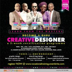 20-Days To Go: Mouth watering benefits await you as you attend this Vocational Training 2016   VIVID-VIEW CONCEPTSpresents  VOCATIONAL TRAINING 2016  Tagged:  BECOME A GURU CREATIVE DESIGNER  a 2-week certification programme  On 5th - 16th December 2016 by 9am - 4pm  @ FOURSQUARE GOSPEL CHURCH AGIDINGBI  18 Hakeem Balogun Street Opp. Technical College Agidingbi Ikeja Lagos  Do you know that with only10k you can learn...- Graphic Designs using CorelDraw and Adobe Illustrator- How to make…