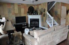 corner fireplace & stairs