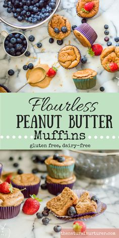 Healthy Meals For Kids Flourless Peanut Butter Muffins are the perfect grain-free muffin! Wonderful flavor, fluffy texture, and made with simple wholesome ingredients. Dairy Free Muffins, Dairy Free Snacks, Gluten Free Breakfasts, Gluten Free Recipes, Healthy Afternoon Snacks, Healthy Snacks, Healthy Life, Healthy Breakfasts, Healthy Recipes
