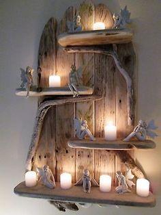 Enchanting Unique Driftwood Shelves Solid Rustic Shabby Chic Nautical