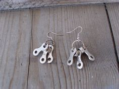 Recycled Upcycled Bicycle Chain Earrings. $15.00, via Etsy.