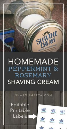 Homemade Peppermint and Rosemary Shaving cream made with essential oils coconut oil and shea butter. DIY recipe for sensitive skin. Great for men and women. Plus editable and printable labels from Etsy. Homemade Face Masks, Homemade Skin Care, Homemade Deodorant, Aloe Vera, Homemade Shaving Cream, Diy Beauté, Shaving Oil, Men Shaving, Natural Cold Remedies