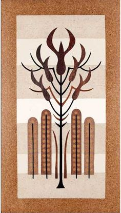"""""""Five Pod Tree"""" by Emile Norman. Wood inlay panel."""