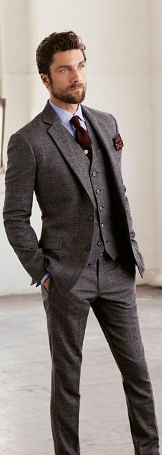 What do you think of this three-piece suit? We love the rich burgundy accents.