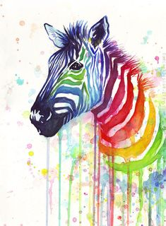Zebra Art Watercolor Painting, Art Print, Rainbow Zebra, Ode to Fruit Stripes…