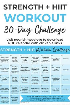 Get fit this fall with this 30 day fitness challenge! This follow-along workout plan combines strength training exercises with HIIT cardio bursts to create an effective, CHALLENGING workout calendar! You can complete the daily workouts at home or at a gym, all you need is a set of dumbbells! #workoutcalendar #workoutchallenge #30daychallenge #30dayworkout #workoutsforwomen