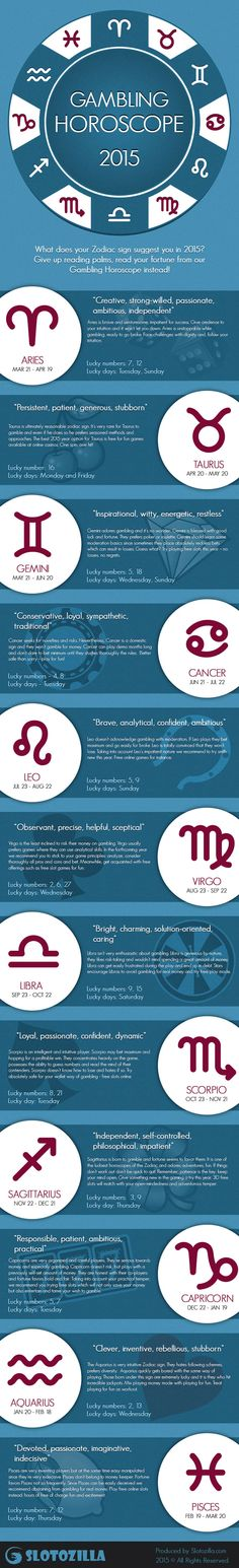Want to know your zodiac sign recommendation this New Year Give up reading palms, and know your fortune from our Gambling Horoscope Infographic. Check out your zodiac lucky numbers and lucky days in lucky horoscope