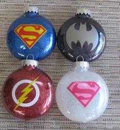 Superhero Glitter Ornaments-Batman Superman by TheHappyHook