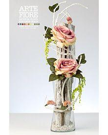 Composizione di fiori artificiali amarillis e rose rosse for Composizioni fiori finti per arredamento