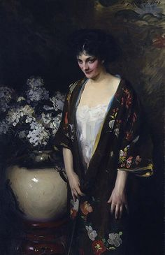 """Brown Kimono"" by Irving R. Wiles, 1908, oil on canvas.  (Portrait of Kathryn Beta la Forque)"
