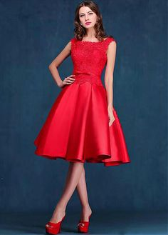 Attractive Satin & Lace Bateau Neckline A-line Homecoming Dress