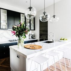 The Block Glasshouse Dee & Darren's kitchen - glass ball pendants, herringbone floor, marble benchtop, marble splashback The Block Kitchen, New Kitchen, Kitchen Dining, Kitchen Decor, Kitchen Black, Kitchen Island, Minimal Kitchen, Space Kitchen, Kitchen Time