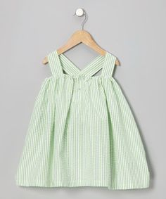 Take a look at this Green Seersucker Bow Swing Dress - Toddler by Addie & Ella on #zulily today!