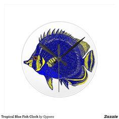 Tropical Blue Fish Clock