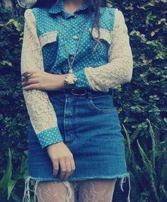 polka dots, lace and denim