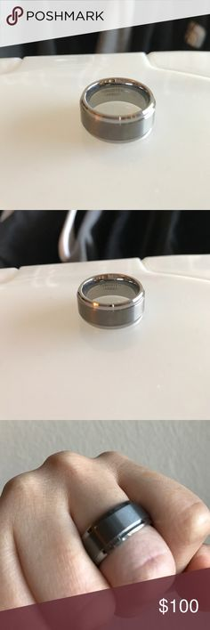 Tungsten Carbide Ring For Men/Women Brushed and Polished Comfort Fit Wedding Ring Gray Tungsten Carbide (not Chanel, tagged for exposure!) tungsten Jewelry Rings