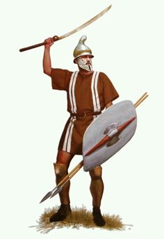 Thracian Warrior with a phyrigian helmet, a shield ( thureos ), and a pair of greaves. His weapons are a bundle of javelins, which upon charging, were thrown before the warriors switched to their secondary weapons - in this case the dangerous Rhomphaia. Greek History, Roman History, Ancient History, Ancient Rome, Ancient Greece, Soldado Universal, Hellenistic Period, Greek Warrior, Roman Soldiers