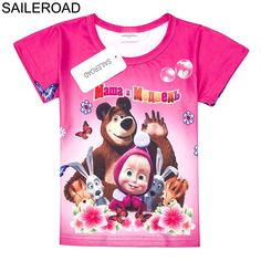 0d1c8572e SAILEROAD 2 To 7Y Masha And Bear Child Baby Girl's T Shirt Cartoon Summer  Children Kids