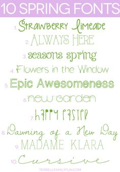 A list of 10 free pretty spring fonts to download.