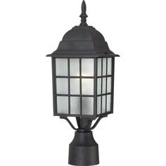 Nuvo Lighting 604909 Adams One Light Post Lantern 100 Watt A19 Max Frosted Glass Textured Black Outdoor Fixture * More info could be found at the image url. (Note:Amazon affiliate link)