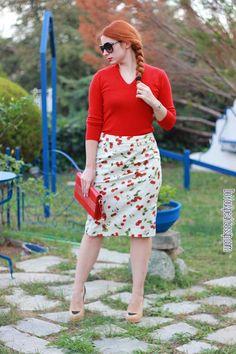 Cherry print pencil skirt in autumn 2- outfit - DoYouSpeakGossip.com