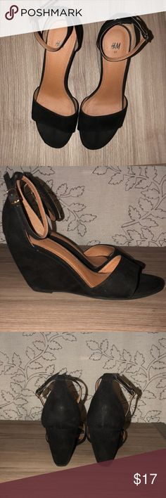 H&M black wedge heels The perfect black wedge strapped heels for any night out! Gently used, but in great condition! H&M Shoes Wedges