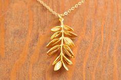 Gold Branch Necklace gold leaf necklace twig by MegusAttic, 32.00