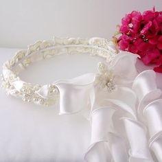 IVORY Pearl Wedding Flower Girl Halo Communion Wreath