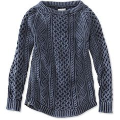 L.L.Bean Signature Signature Cotton Fisherman Tunic Sweater, Washed ($109) ❤ liked on Polyvore featuring tops, sweaters, blue top, chunky cable knit sweater, cable sweater, zipper top and cotton cable knit sweater