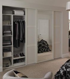 43 ideas bedroom closet ideas built in wardrobe shaker style White Sliding Wardrobe, Sliding Closet Doors, Built In Wardrobe Ideas Sliding Doors, Fitted Wardrobe Doors, Fitted Sliding Wardrobes, Mirrored Wardrobe Doors, Bedroom Cupboards, Bedroom Doors, Home Bedroom