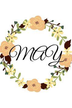 Wiosenne plakaty do wydruku za darmo. #8 MAJOWY WANEK. PASTELOWY - stonowany wianek na drzwi w wersji pastelowej. May, Place Cards, Place Card Holders