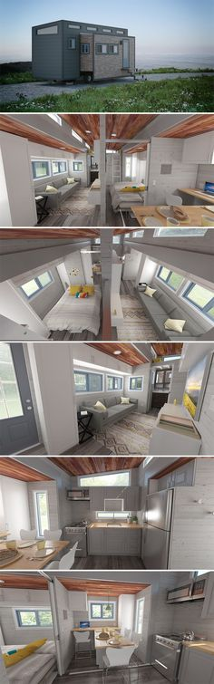 "Aurora is a 26' tiny house on wheels with two large motorized slide outs. When expanded, the tiny house measures 15'10"" wide and totals 337-square-feet."