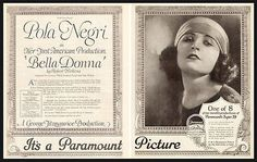 "paperink id: ads 8010 ORIGINAL Period Magazine Advertisement. Pola Negri Silent Film VAMP Actress in ""Bella Donna"", her first American production, Paramount Picture Movie 1923 Photo AD. Two-page AD, s"