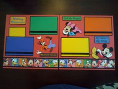 "New Disney Characters 2 Page 12""x12"" Scrapbook Layout w/ Mickey, Minnie & Goofy"
