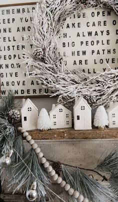 FARMHOUSE CHRISTMAS VILLAGE MANTEL