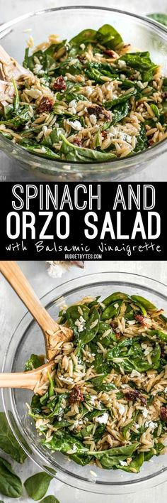 A quick homemade balsamic vinaigrette makes this simple Spinach and Orzo Salad extra special. Serve as a light lunch or a side with dinner. @budgetbytes