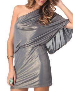 1 Shoulder Gold Liquid Metallic Dress by DJP OUTLET @ DrJays.com
