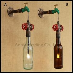 56.00$  Watch now - http://ali0vn.worldwells.pw/go.php?t=32731367599 - wroguht iron Water pipe wall lamp vintage green faucet hanging wall sconces LED lights  edison incandescent light bulb fixture 56.00$