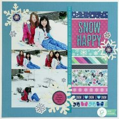 Snippets By Mendi: Pebbles Winter Wonderland Snow Themed Scrapbook Pages