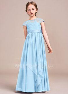 8317537cd0bc6 A-Line/Princess Scoop Neck Floor-Length Bow(s) Cascading Ruffles Zipper Up  Sleeves Short Sleeves No Royal Blue General Chiffon Lace Junior Bridesmaid  Dress