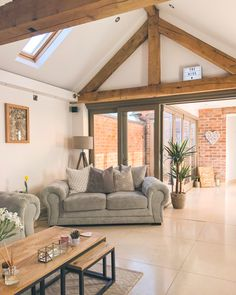 The living room & courtyard in my barn conversion, Staffordshire, UK. - The living room & courtyard in my barn conversion, Staffordshire, UK. Home, Barn Conversion Interiors, House Inspiration, Cheap Home Decor, House Design, Barn Living, House Interior, Barn Conversion, Ideal Home