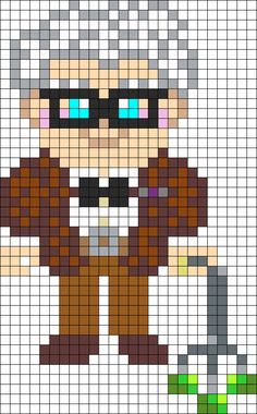 Carl Fredricksen from Pixar Film UP hama perler bead pattern